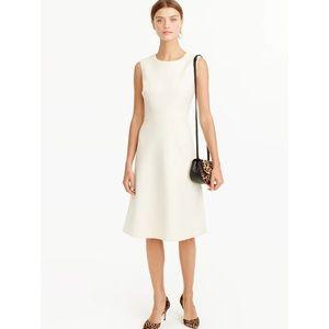 J. CREW A-Line Double Serge Wool Dress Ivory
